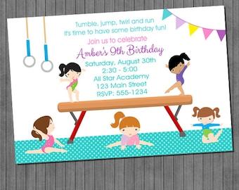 gymnastics birthday invitations - Gymnastics Birthday Party Invitations