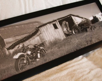 Framed 12x36 inch (large) panoramic poster of old farm scene with an old Harley-Davidson