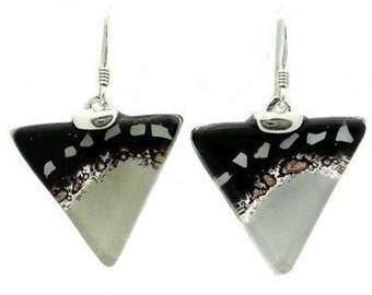 Black and White Flecks Translucent Triangle Glass Sterling Silver Earrings FREE USA SHIPPING