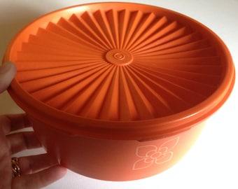 large vintage retro orange Tupperware cake saver container keeper storage container 1970s