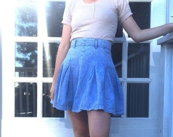 Acid Wash Pleated Mini Skirt
