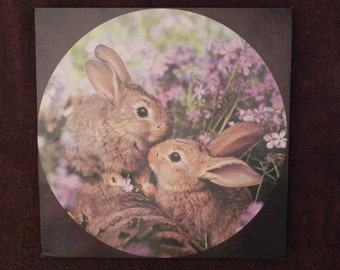 Vintage Jigsaw Puzzle, Easter Bunny Rabbits or Hares in Lavender, Woodland Friends, 20 3/8 Diameter Completed, Over 500 Pieces, Springbok