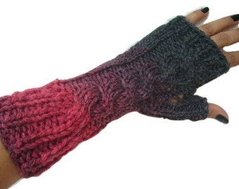Cable Knit Fingerless Gloves, Long Fingerless, Red, Grey, Colorful, Wool, Handknit, Wrist Warmers, Hand Knit, Fingerless Gloves, Wrist