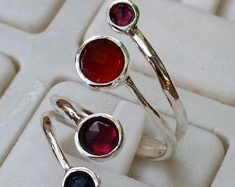 Garnet Silver Ring , Agate Ring, Sterling Silver 925 Ring, Gemstones Ring, Handmade Multistones Ring, Stackable Ring, Open Ring, Unique Ring
