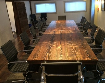 Exceptional Industrial Conference Table | Industrial Table With Metal Pipe Base |  Rustic Board Room Table |