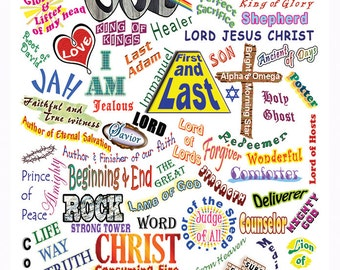 Names of God Stickers - Who He Is - Set of 12 labels