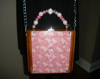 Pink Ribbon, Breast Cancer Awareness, Cigar Box Purse, Cigar Box Handbag- Perfect Gift!