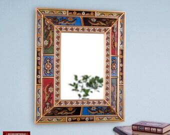 Hand Painted glass Style - Rectangular Large Decorative mirror, 'My Treasure' - Bathroom Ornate Mirrors- Home Wall Decor - Peru Handicrafts