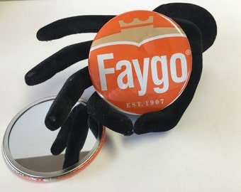 """3""""  pocket mirror made with a recycled Faygo container - Orange"""