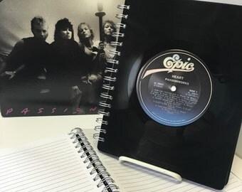 Recycled vinyl record notebook - Heart & Rod Stewart