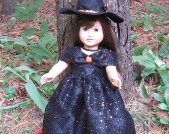"""18"""" Doll Clothes Princess Witchy will fit dolls such as American Girl Dolls or other 18"""" dolls with similar build Halloween handmade USA"""