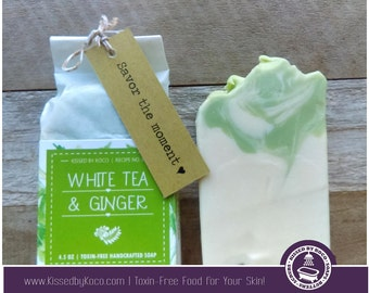 Soap, Handcrafted, Handmade White Tea & Ginger Toxin-Free Soap