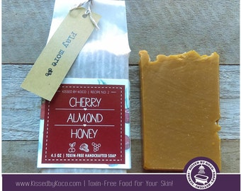 Soap, Handcrafted, Handmade Cherry Almond & Honey Toxin-Free Soap