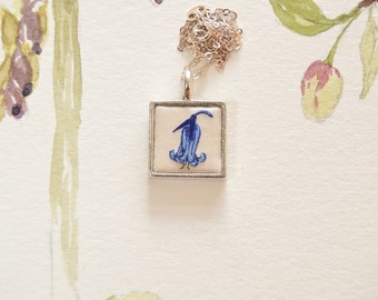 Hand embroidered silk bluebell pendant