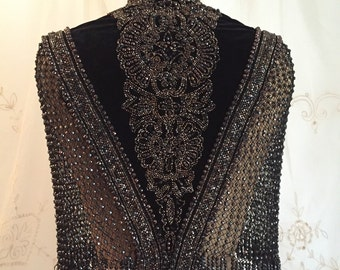 Exquisite Antique Victorian Mantle / Shawl / Beaded Cape / Historical / Museum / Size Small