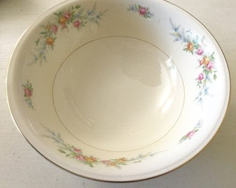 Vintage Eggshell nautilus floral pattern serving bowl with gold detail