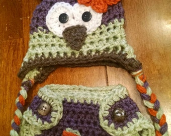 Newborn/infant/baby owl hat with horns and diaper cover for Newborn pictures. Plum, sage green and orange owl hat with flower and horns.