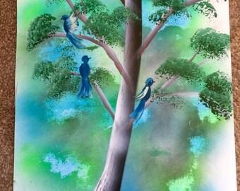 Spray Paint Art Birds in a Tree