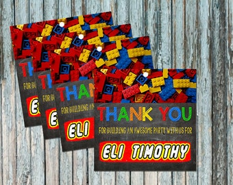 LEGO Invitation - Thank You Party Favor Tags - Lego Birthday - Customized Digital File