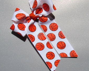 Basketball Hair Bow - Long Tail Bow White with Orange Basketballs and a Sprinkling of Glitter for Just a Little Sparkle - Cheer / Player Bow