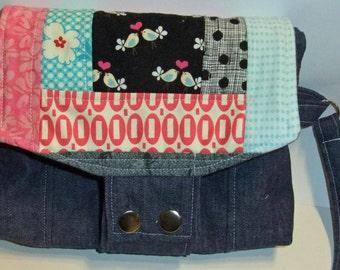 Patchwork and Denim wristlet purse clutch