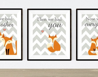 Nursery Trio, Woodland Nursery, Fox Nursery, Set of 3 8X10, Orange, Grey