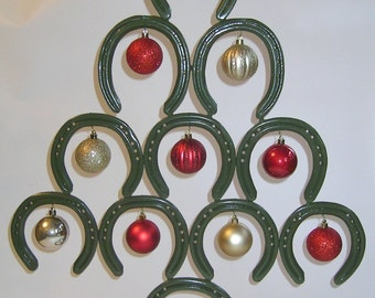 Pre-used Horseshoes welded together to form a Christmas Tree