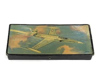 French Vintage Sci Fi Art Print Pencil Box. 1950s Jet Rocket Print on Black Lacquer Box.