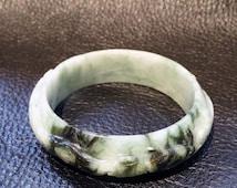 Spinach Jade Bangle Natural Color Jadeite Vintage 50.7 Grams