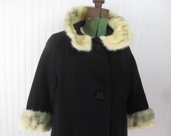 Vintage pea coat, mink,woman's jacket, winter coat,outerwear, black coat, fur collar,
