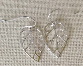 Leaf Earrings, Sterling Silver Leaf Earrings, Dangle Earrings, Sterling Silver Earrings, Fall Earrings, Christmas Gifts, Stocking Stuffers
