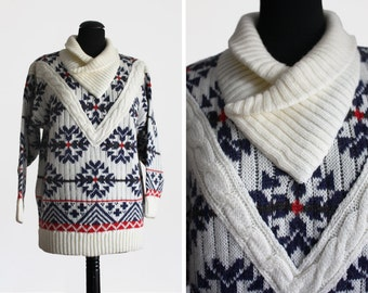 1980s Vintage Cable knit Patterned Shawl Neck Jumper
