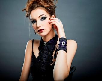 """Black Lace Brocade Necklace """"Curiosité-Purple"""" Onyx cab Sterling Silver Chain + amethyst beads - Unique Piece"""