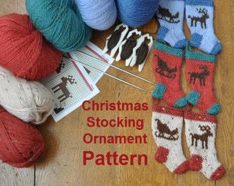 Sleigh & Reindeer Christmas Stocking Ornament Knitting Pattern
