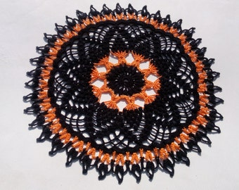 handmade crochet doily, halloween doily, black doily, orange doily