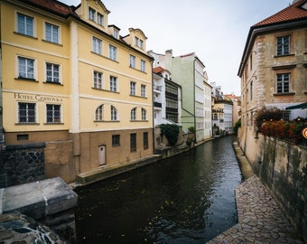 Buildings along Certovka, in Prague, Czech Republic. | Photo Print, Stretched Canvas, or Metal Print.