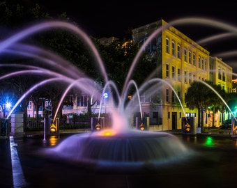 Fountain at night at the Waterfront Park in Charleston, South Carolina. | Photo Print, Stretched Canvas, or Metal Print.