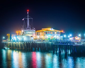 The Harbor Office on the Santa Monica Pier at night, in Santa Monica, California. | Photo Print, Stretched Canvas, or Metal Print.
