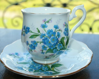 Royal Albert ladies teacup and saucer - blue forget me nots