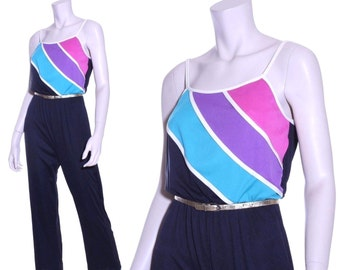 70s or 80s rainbow stripe disco jumpsuit - xs or small