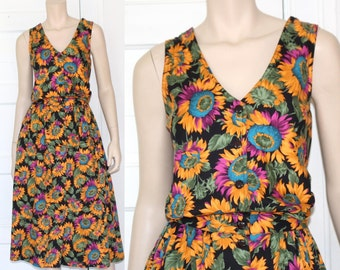 90s casual button down sunflower dress - small or medium