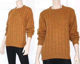 70s saffron space dye cable knit wool sweater - medium or large