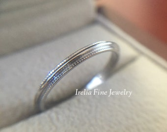 14k White Gold 2 mm Wide Wedding Band with Milgrain Edges Warranty Included
