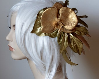 Golden Grecian Headdress with orchid, roses, feathers and leaves, fantasy costume head piece