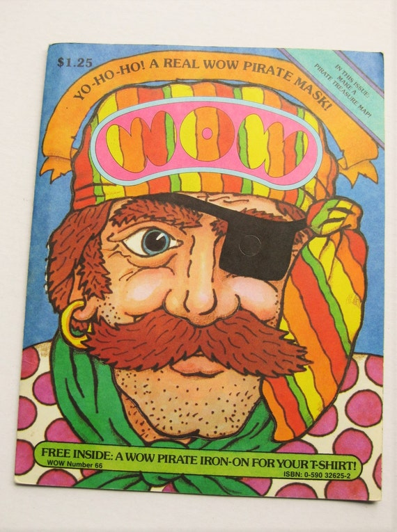 1983 Scholastic Wow magazine, Pirate issue. Pirate mask, trading cards, mobile, pirate iron-on