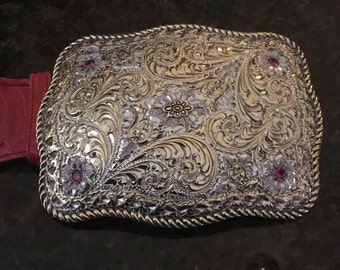 San Carlos Crumrine Jewelers sterling silver jeweled belt buckle.