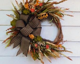 Rustic Front Door Wreath,Primitive Wreath, Country Cottage Wreath,Year Round Wreath, Primitive Wreath, Winter Wreath, Full Bow