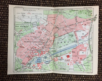 1927 Fontainebleau Forest map [7.4 x 5.7 in.] Rare 1927 Original Map