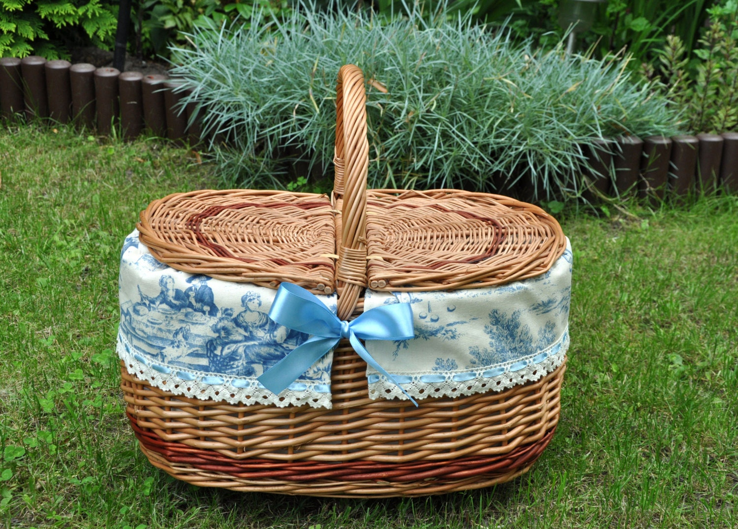 Wedding Gift Picnic Basket : Picnic basket couples gift gift for wedding toile by AgaArtFactory