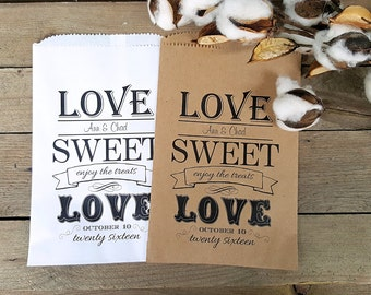 Wedding Favor Bags -Favor Bags- Candy Buffet-Personalized Treat Bags-Sweet Table-Love Sweet Love